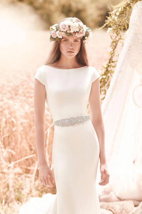 Simple dress with sparkly belt from Mikaella Bridal