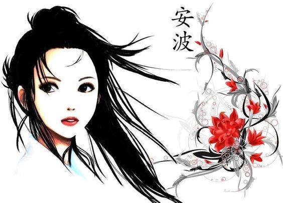 mod le de tatouage d 39 un portrait d 39 une jeune japonaise avec des fleurs art pinterest. Black Bedroom Furniture Sets. Home Design Ideas