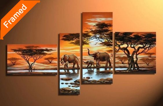 Find More Painting & Calligraphy Information about Elephant oil painting 4…