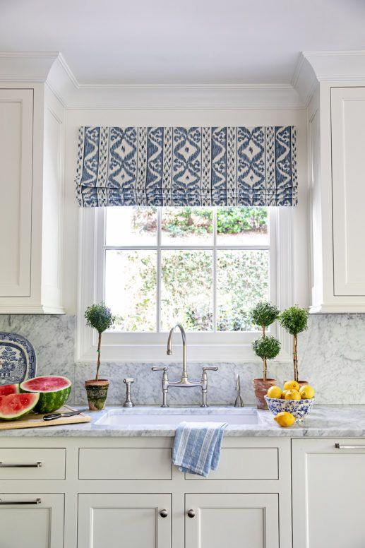 2021 Decor And Design Trends I Love Beautiful Blue And White Kitchen Idea With Topiaries A In 2021 Kitchen Window Coverings Kitchen Valances Kitchen Window Treatments