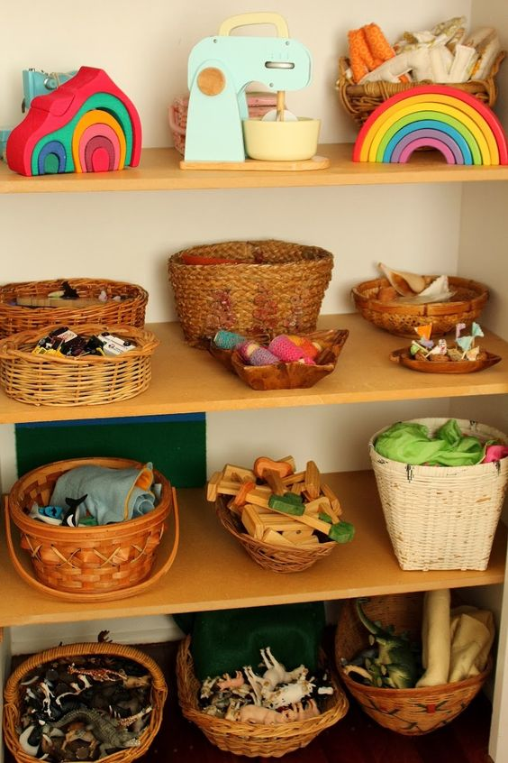 This brown wren toys open ended toys organized in baskets - Material waldorf ...