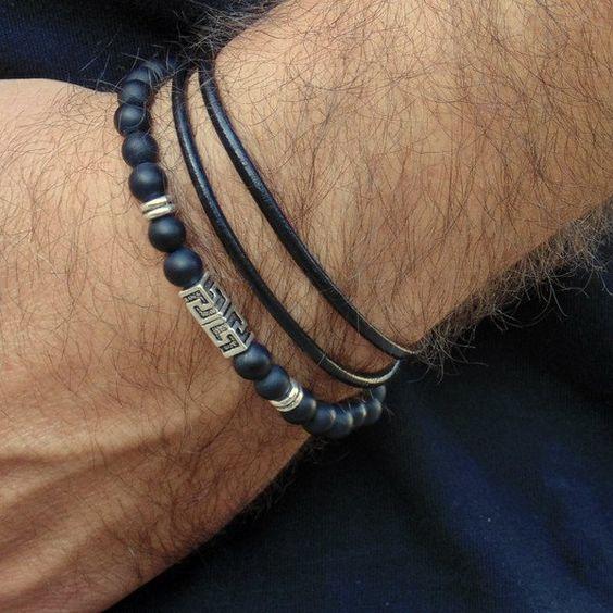 Armreife - Onyx und wrap Leder Armbänder Set für Männer - ein Designerstück von annarin100 bei DaWanda
