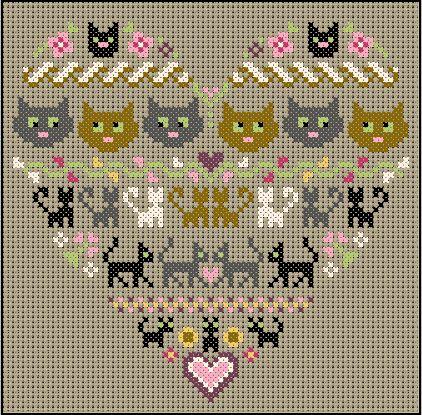 Кошки, вышивка крестом: