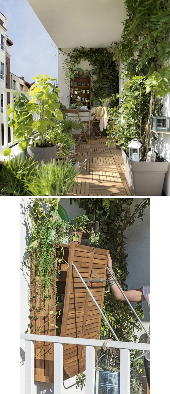 Balconies folding tables and plants on pinterest for Amenager une terrasse