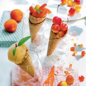 Des cornets de glaces pour vos salades de fruits / Ice-cream cones and fruit salads