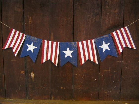 Ready to ship, Patriotic Banner, Patriotic Bunting, 4th of July Banner, 4th of July Garland, Patriotic Decor, Burlap, Burlap Bunting Garland