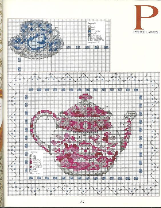 porcelaines *point de croix * cross stitch