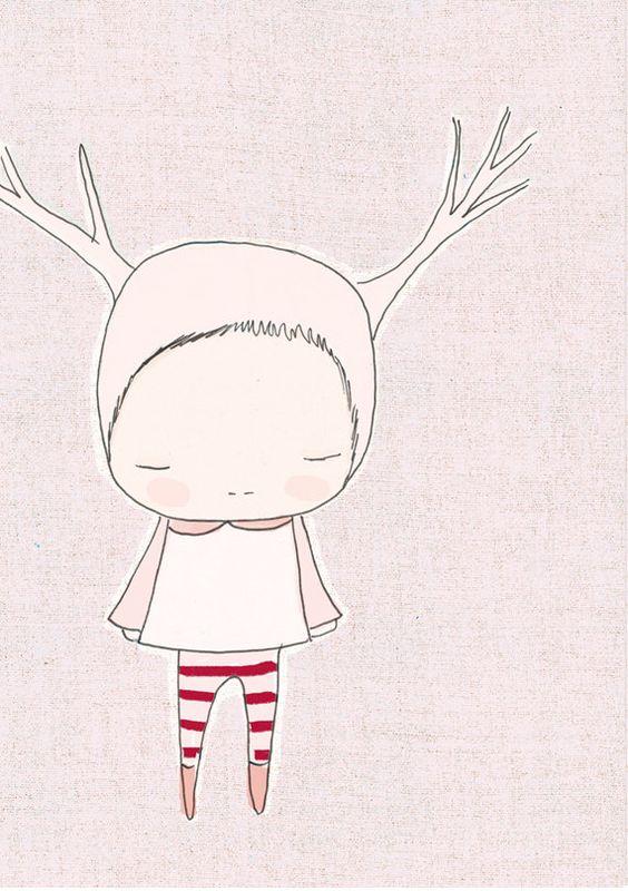 Nursery Print  Baby Art   Deer Girl  Pink and Red by honeycup, $16.00