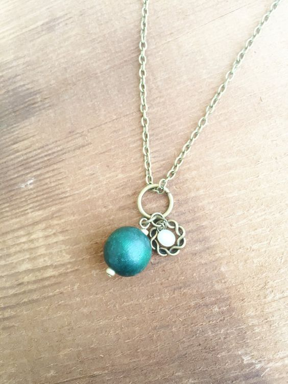 Upcycled Charm Necklace with Green Wooden Bead by Five17Designs