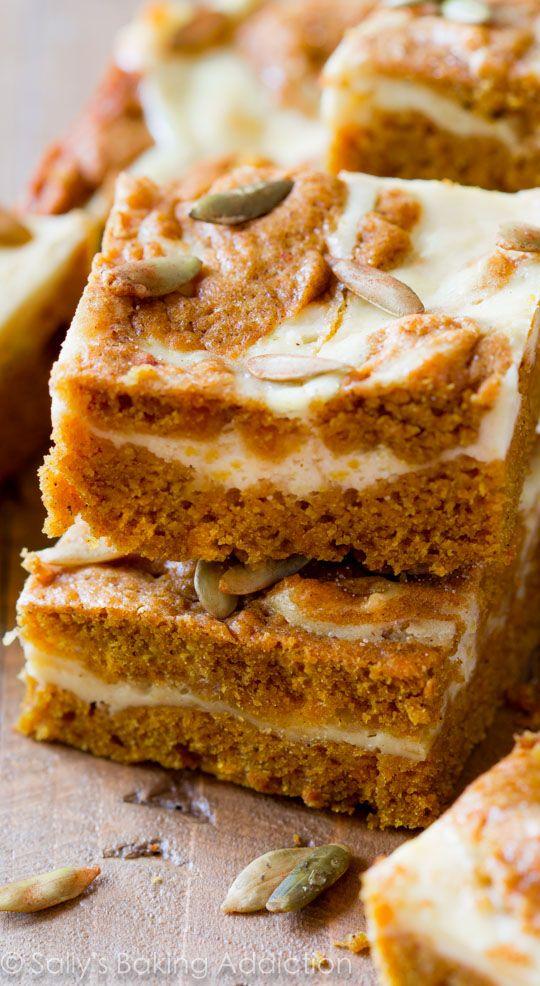 Pumpkin Cream Cheese Swirl Bars #delicious #recipe #cake #desserts #dessertrecipes #yummy #delicious #food #sweet