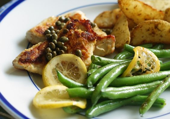Bake at 350 goes savory: Chicken with Capers & Lemony Green Beans.  **This is one of my favorite week night meals to make because it's fairly easy yer very good!  I make one small change - I only add two slices of a lemon in the beans because otherwishe its too overpowering for me.