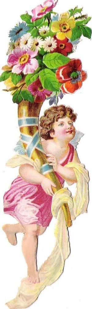 Oblaten Glanzbild scrap die cut chromo Engel  15,5cm angel cherub cornucopia: