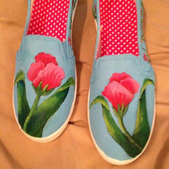 Zapatos flores por SilverDragonflyShoes en Etsy