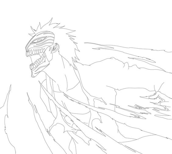Bleach Ichigo Hollow Coloring Page   How to draw anime   Pinterest