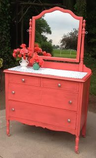 LoveLeigh Again: Coral Dressers....I love coral furniture right now!