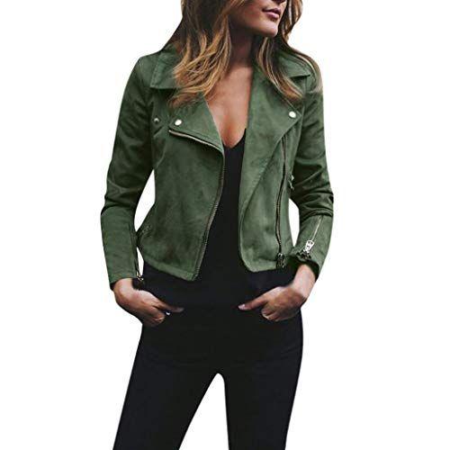 Plus Size Womens Ladies Lapel Suede Parka Jacket Flight Coat Zipper Biker Casual