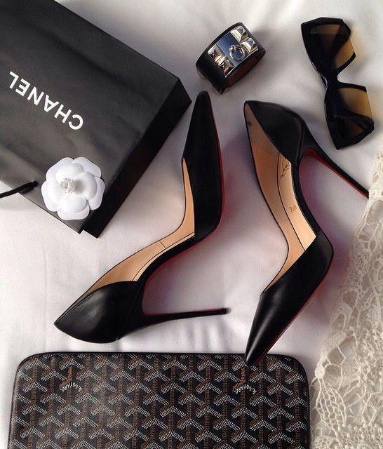 Chanel black shoes, pumps, high heels