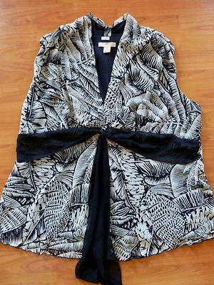 JONATHAN MARTIN Black White Sheer Veil Abstract printed Women Top Blouse Size 1X  a vendre dans ma boutique ebay