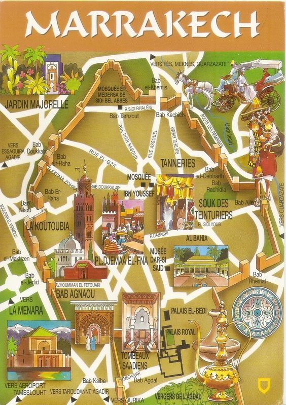 My UNESCO World Heritage Postcards Morocco Medina of Marrakesh – Morocco Tourist Attractions Map