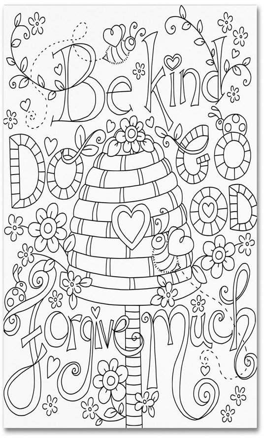 Trademark Global Jennifer Nilsson Be Kind Coloring Page Canvas Art