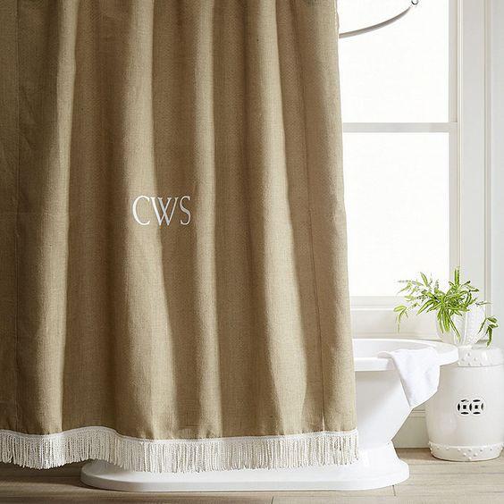 Burlap Shower Curtain With Bullion Fringe Burlap Shower Curtains