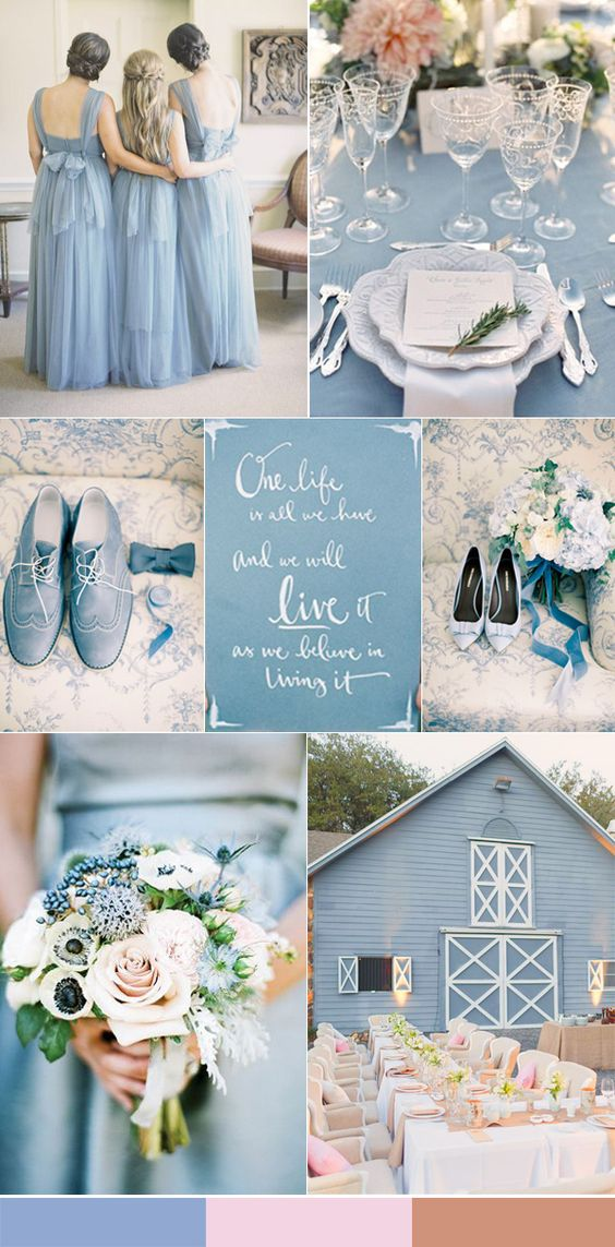 dusty blue and pink wedding inspiration for 2016 weddings: