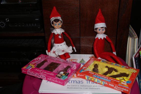 The Elf on the Shelf : who loves chocolate? the elves do