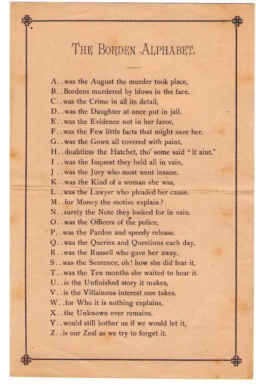 The Lizzie Borden case alphabet