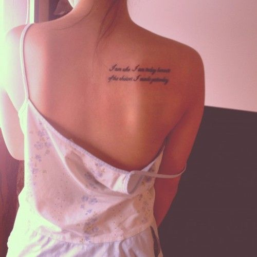 12 amazing tattoo designs for shoulder blade on back for Quote tattoo placement