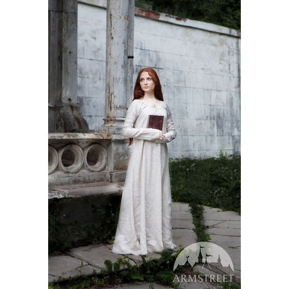 """WHITE Linen Chemise """"Sansa Fixed Sizes; Ready to Ship; Medieval... ($79) ❤ liked on Polyvore featuring costumes, linen chemise, white halloween costumes, renaissance costumes, white chemise and renaissance halloween costumes"""