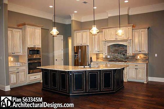 Plan 56334sm french country home plan with extras stove for Country kitchen designs layouts
