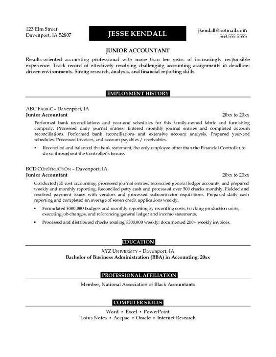 Accounting Objective For Curriculum Vitae - Accounting Objective - sample resume accounting