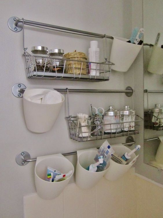 small bathroom storage ideas for makeup and toiletries. Tips and solutions: