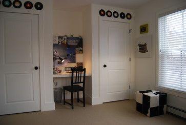 built-in desk & records for decor