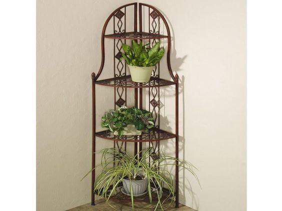 Frascati Metal Corner 3 Tier Plant Stands Home Decor
