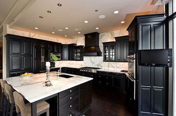 Black Kitchen Cabinets, Should Kitchen Cabinets Match Wood Floors