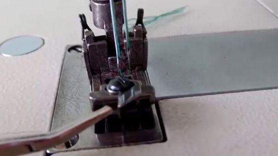 Como costurar viés e fazer barra na máquina galoneira.  Aula 46.