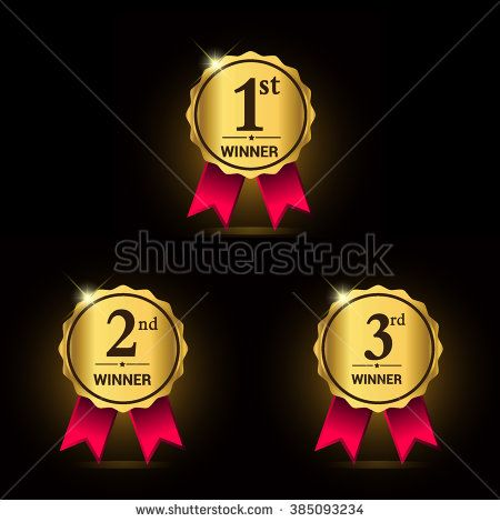 Golden Laurel wreath awards with red ribbons sets First, second - first place award template