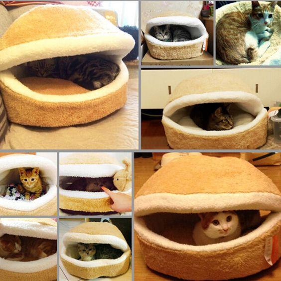 Kitty Hamburger Litter Disassemblability Windproof Pet Nest Shell Cat Bed Hiding Burger Bun Pet Cat Bed Free Shipping CM-PB0048