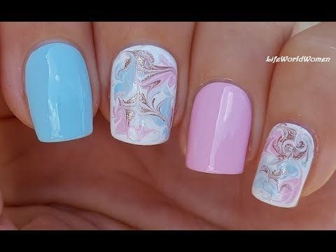 Pastel Dry Marble Nails Baby Blue Pink Summer Nail Art Nail Art Summer Summer Nails Pink Summer Nails