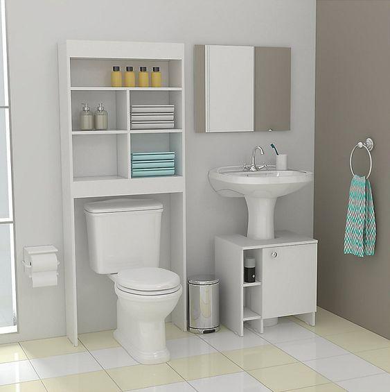 Optimiza el espacio de tu ba o ocupando estantentes con - Mueble para encima del inodoro ...