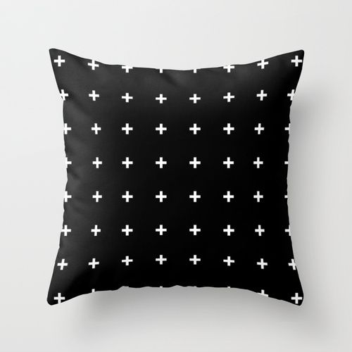 White Cross on Black // White Plus on Black Throw Pillow: