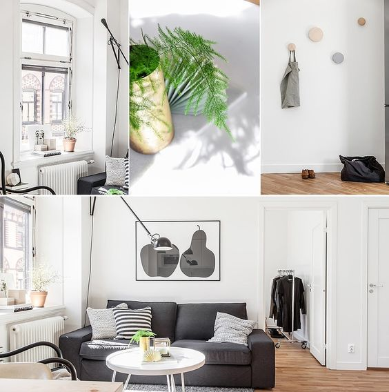 Grey shades and simplicity for a Swedish apartment