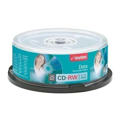 Imation 4x Cd-Rw Media 700mb 120mm Standard 25 Pack Spindle 1000 Times Rewritable by Imation. $18.77. CD-RW media offers recording speed of up to 4X, a 700MB/80 minute capacity and a branded surface. Ideal for a wide range of uses including temporary storage, presentations, backups, downloads, archiving and more. Read compatible with CD-R/RW drives and Multi-read CD-R/CD-ROM, DVD-ROM and rewritable DVD drives. This highly reliable media can record and rewrite u...