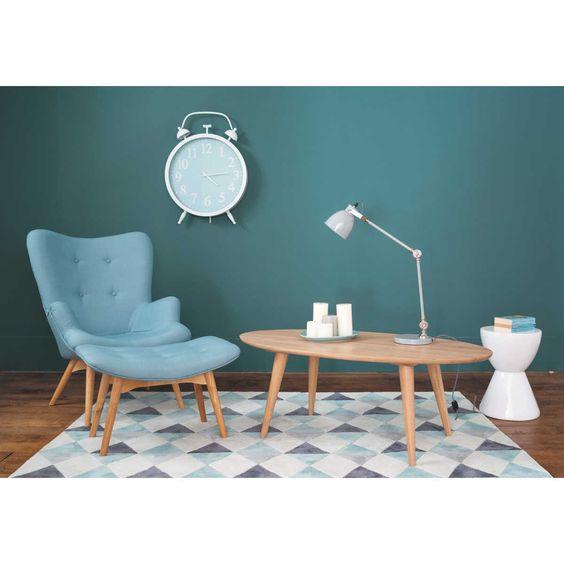 Table basse vintage NORWAY, tapis multicolore NORDIC, fauteuil vintage bleu ICEBERG | Maisons du Monde