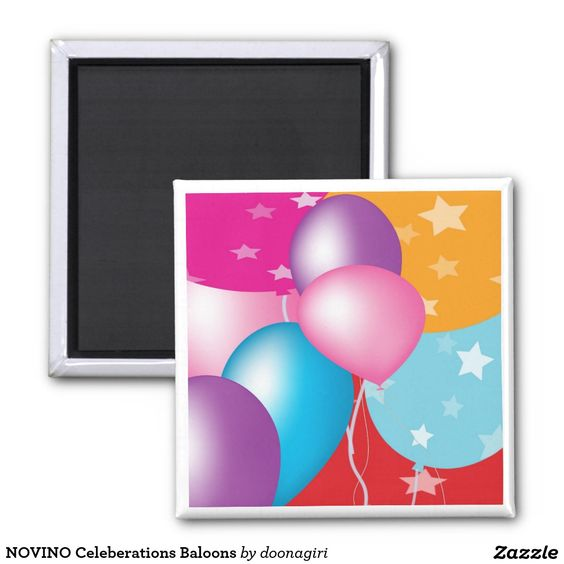 NOVINO Celeberations Baloons 2 Inch Square Magnet