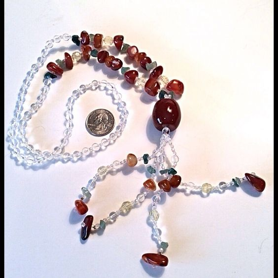 Cold Stone Gorgeous Long Necklace Vintage Real Long, Artist Made One of a Kind, Cold Beads, Feel Real. Attractive Colors, Match All Outfits, Add Panache to EVERYTHING! Jewelry Necklaces