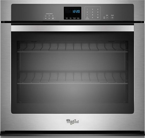 "Whirlpool - 30"" Built-In Single Electric Wall Oven - Stainless Steel - Larger Front:"