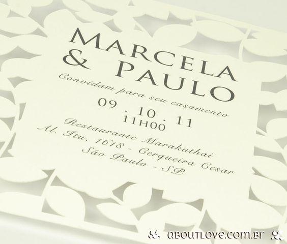 Convite de casamento com corte à laser em formato de folhas. - AboutLove