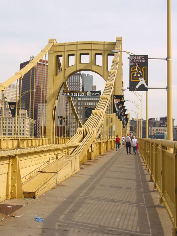 Roberto Clemente Bridge in Pittsburgh The Roberto Clemente Bridge is closed to vehicular traffic on game days, providing a safe, pedestrian walkway between downtown Pittsburgh and PNC Park.